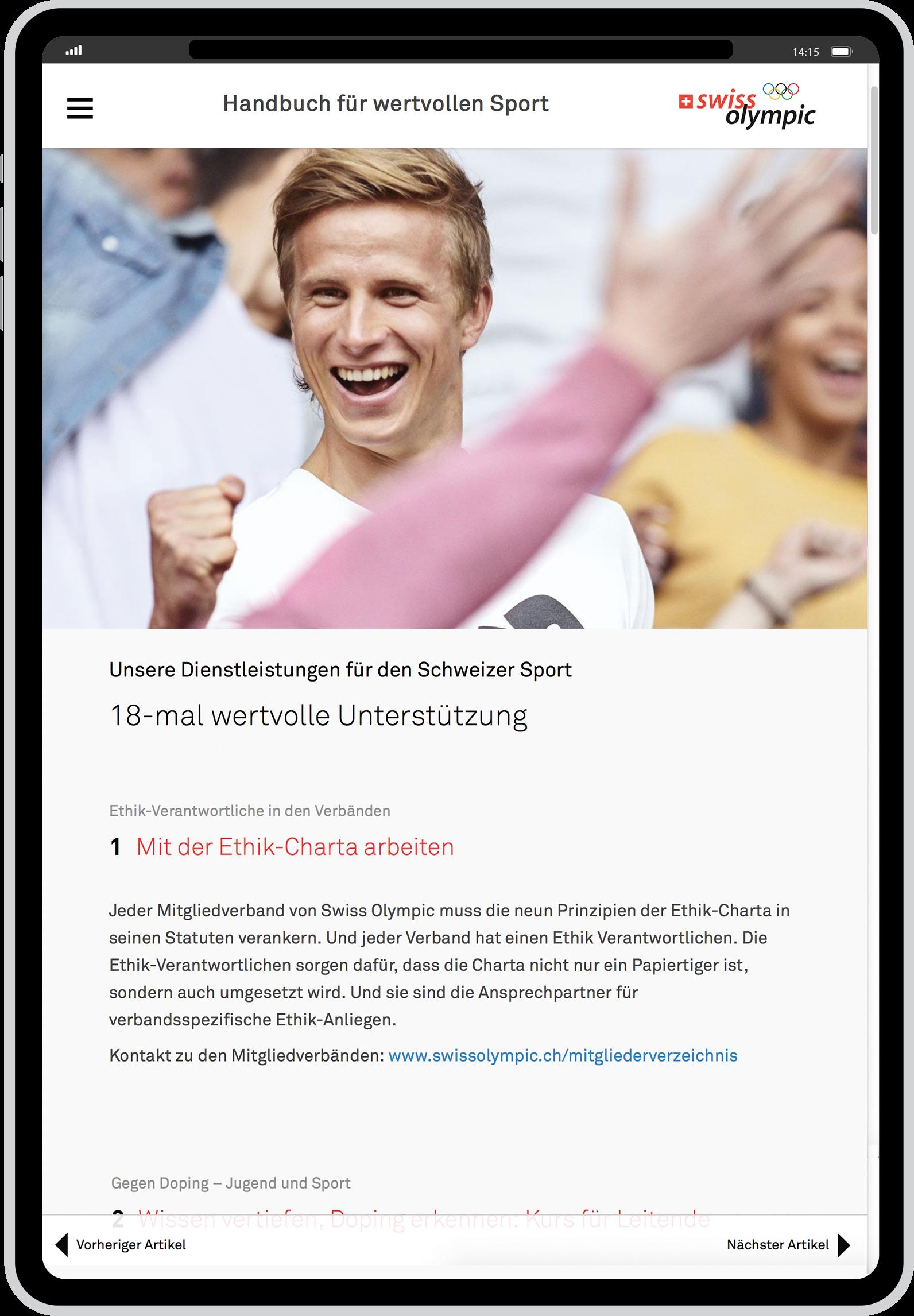 Ethik-Charta für den Schweizer Sport überraschend platzieren.